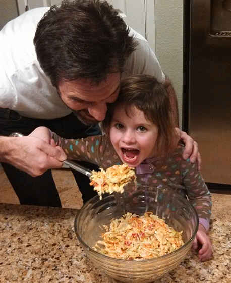 Fi and Daddy with slaw, cropped