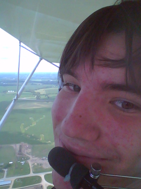 Grant took a selfie, high above Winnebago, IL, as the passenger in my Uncle Gerry's single-engine plane.