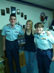 Grant at his last CAP promotion with his almost-girlfriend and another CAP friend.